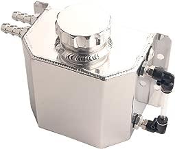 Dewhel JDM Universal 1L Coolant Radiator Overflow Recovery Water Tank Reservoir Bottle Polished Aluminum (Silver)