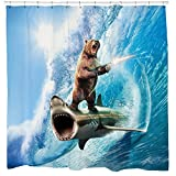 Sharp Shirter Bear Shower Curtain Set Funny Shark Bathroom Decor Surfing Machine Gun Beach Theme Blue Waves Ocean Art Hooks Included
