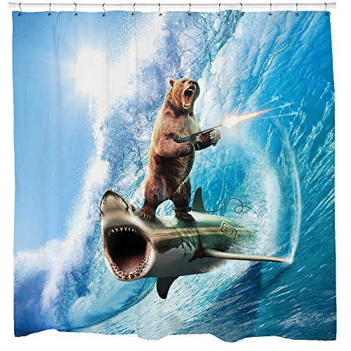 Sharp Shirter Bear Shower Curtain Set Funny Shark Bathroom Decor Surfing Machine Gun Beach Theme Blue Waves Ocean Art Hooks Included