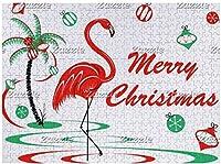 新しい赤いクリスマスフラミンゴつまらないクリスマスパズル500ピース木製大人のジグソーパズル色子供のための抽象的な絵画パズル教育玩具ギフト