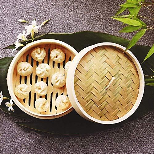 ZHHZ Bamboo Steamer Set, Home Handmade Durable 2 Tiers with Lid Bao Bun Tray Cookware Basket, para albóndigas Vegetales Pollo Pescado Dim Sum Cocina Cocina