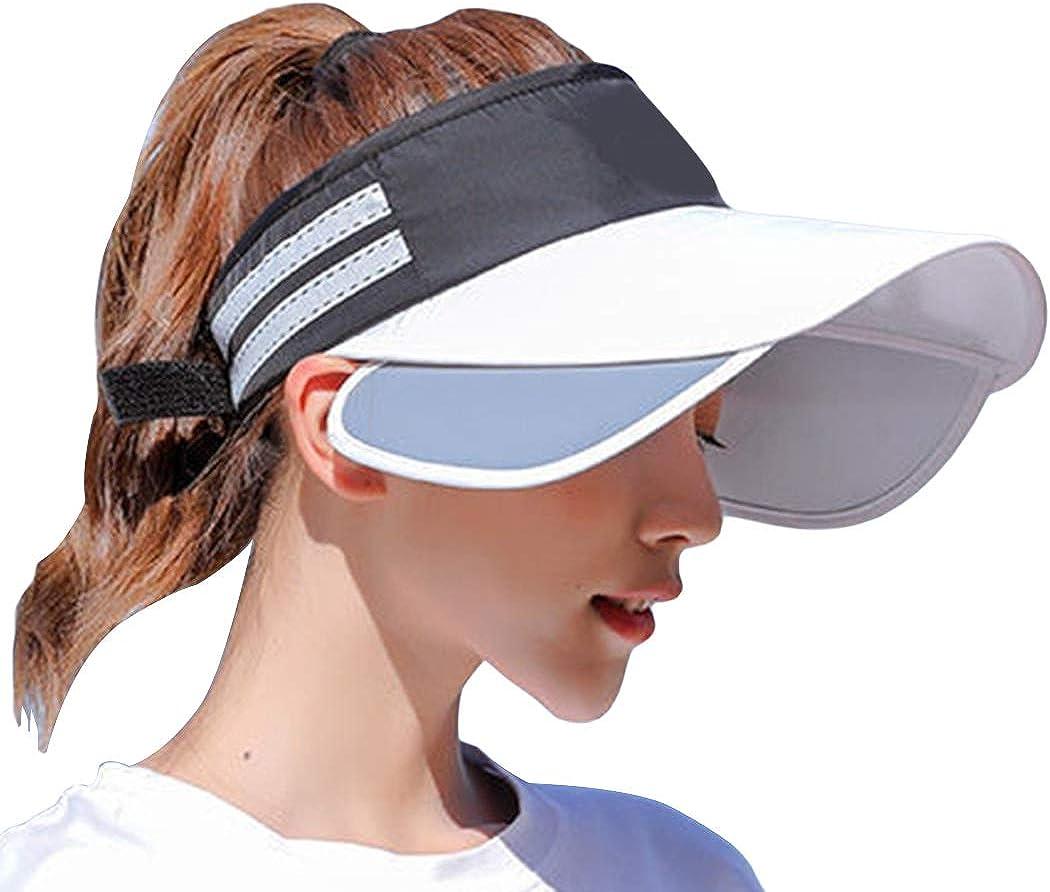 Women's Empty Top Cap Sun Hats Sun Visor Retractable Anti-UV Beach Hat