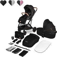 Lionelo Riya 2 in 1 Babygondel und Kinderwagen bis zu 15 kg Liegeposition Rückwärts- oder vorwärtsgerichtete Sitzmontage XXL-Dach Moskitonetz Regenschutz Fußsack Schwarz