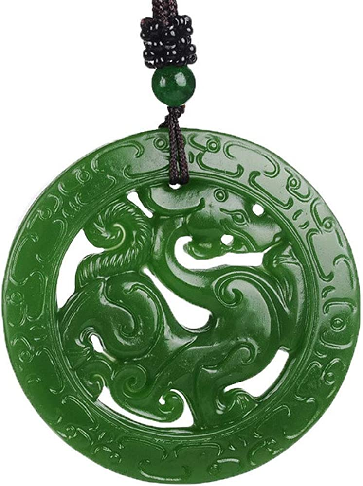 LOOPIG Double-Sided Engraving Pendants Green Jades Pendant Necklace Hand-Carved Dragon Jewelry