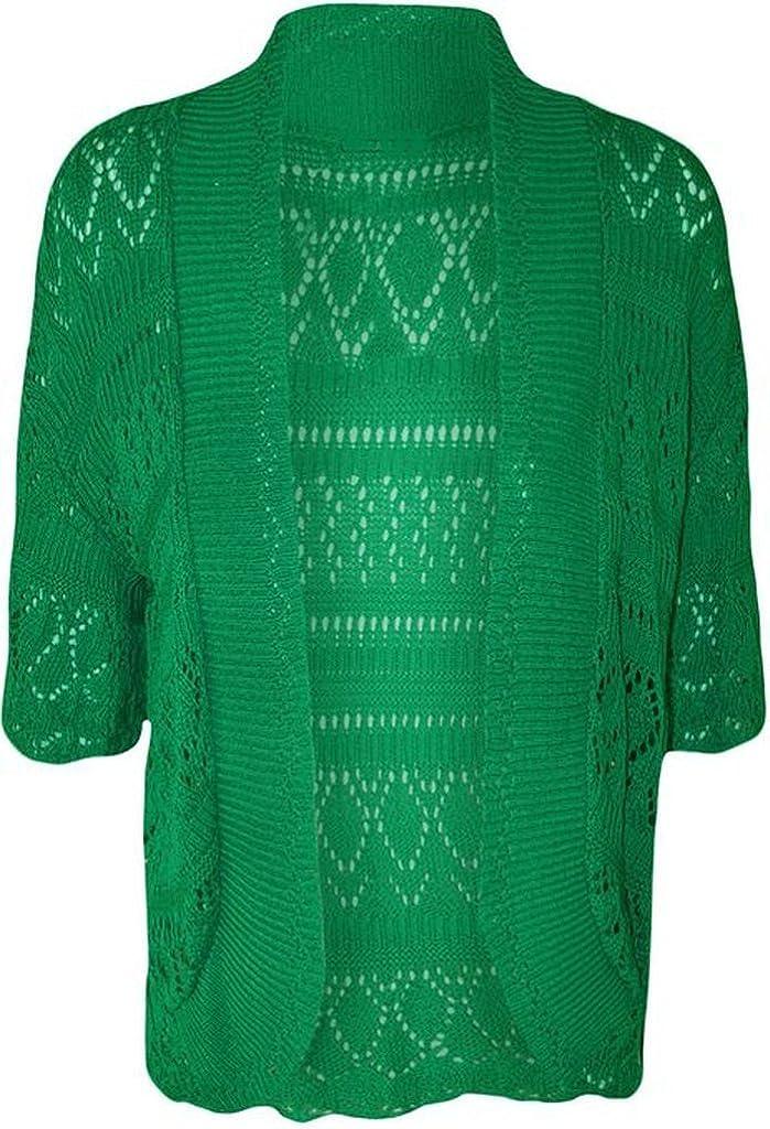 ZJ Clothes Crochet Knitted Shrug Cap sleeven Green XXL