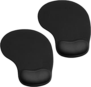 JIKIOU 2 Pack Mouse Pad, Ergonomic Mouse Pad with Gel Wrist Rest Support, Comfortable Wrist Rest Mouse Pad with Non-Slip P...