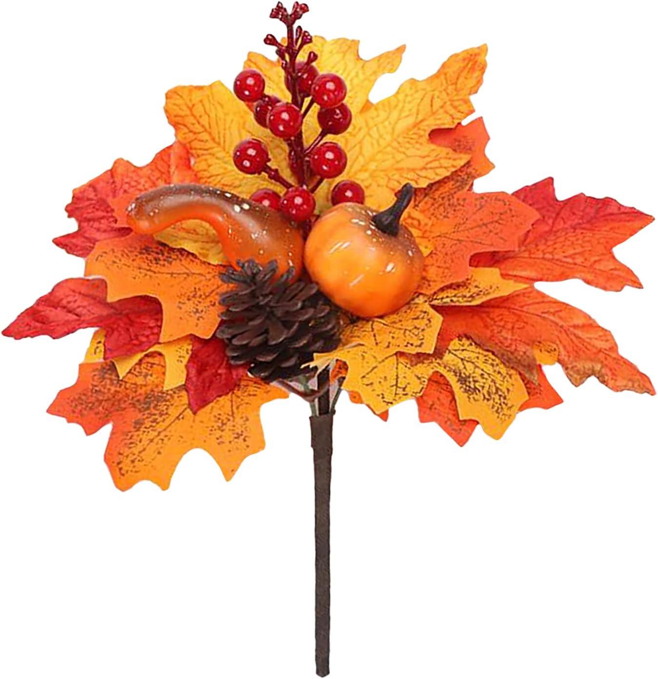 HXRZZG Maple Leaves Cheap Memphis Mall bargain Branches 3 PCS Pumpkin Stems Fall Lea