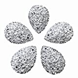 Sparkly Drop Shape Sliver Sew On Rhinestones for Dress Garment Shoes Accessories, All- Star Gems Sewing 30pcs (18x25mm)