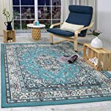 Antep Rugs Kashan King Collection Himalayas Oriental Polypropylene Indoor Area Rug (Blue/Cream, 8' x 10')
