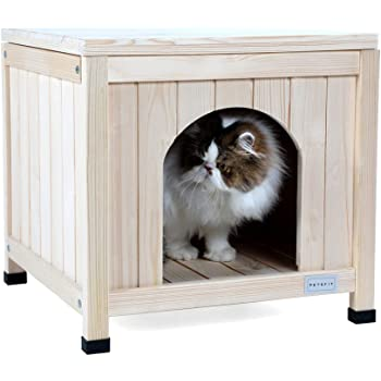 Petsfit Indoor Wooden Pet House for Small Dog and Cat, 20 x 20 x 19 Inches