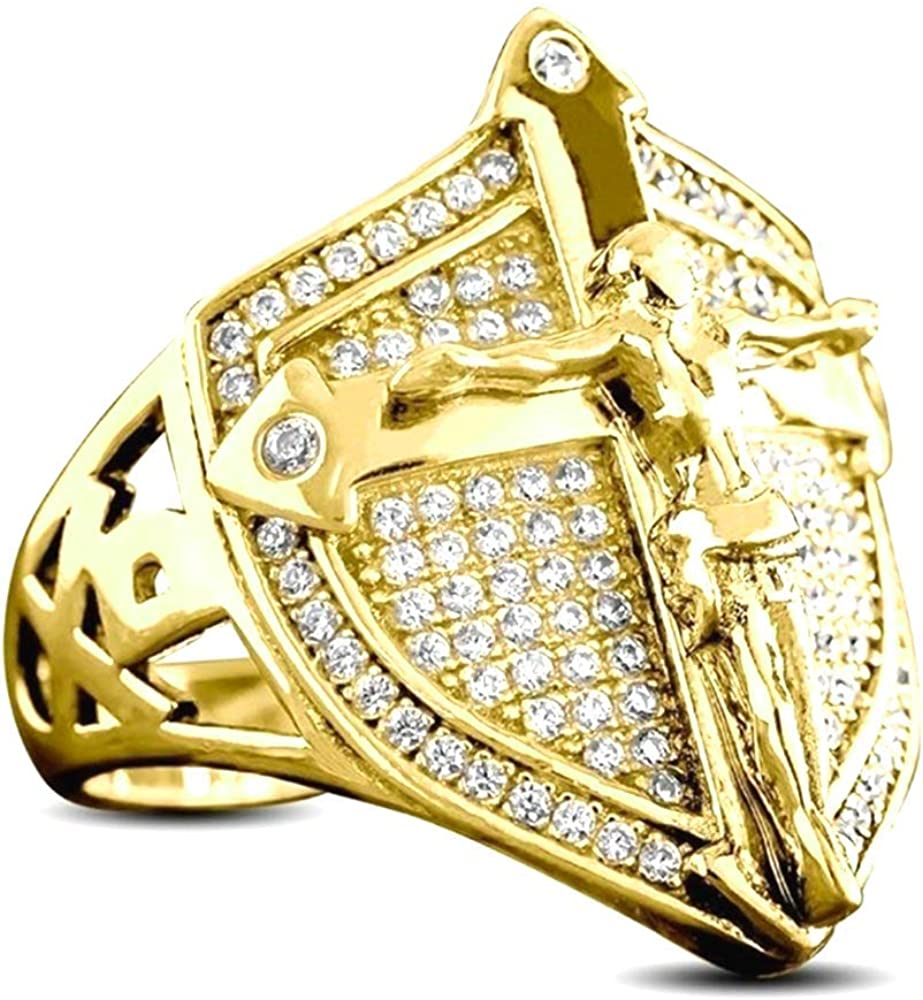 Christian Cross Crystal Ring Shield Jesus Ring Motorcycle Party Hip Hop Anniversary Personalized Ring for Men Boy Fashion Jewelry