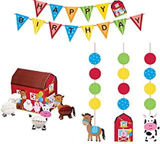 Farmhouse Fun Party Supplies Decorations Supply Pack - Hanging Cutouts, Banner, and Centerpiece