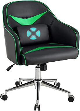 Giantex Mid-Back Armchair, Adjustable Height PU Leather Gaming Chair w/Massage Lumbar Pillow, Rolling Swivel Desk Chairs for Office Home Game Room (Green & Black)