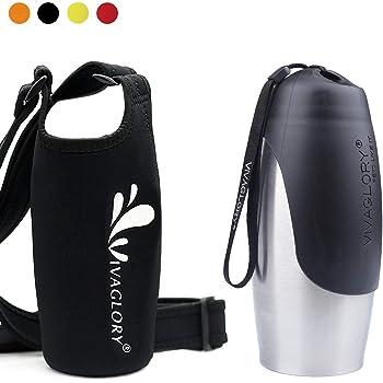 VIVAGLORY 750ml Leak proof Dog Water Bottle with Black Neoprene Bottle Holder for Walking and Hiking