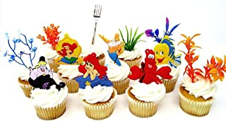 Little Mermaid Birthday Cake CUPCAKE Topper Set Featuring Characters from LITTLE MERMAID and Themed Decorative Accessories