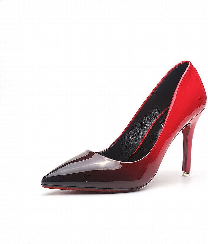 CXY Spring-Western Spitzen Spitzen Flachen High Heels Mode Farbe Lackleder Dünn mit Wilden Trendy Schuhe,A mit Hohem 9.5CM,34    Einzigartig    Treten Sie ein in die Welt der Spielzeuge und finden Sie eine Quelle des Glücks