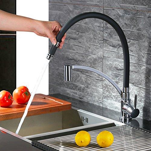 Homelody Schwarz Wasserhahn Küche Küchenarmatur Armatur Spüle Mischbatterie Einhebel Spültischarmatur Spiralfederarmatur - 2