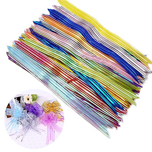 45 Pcs Organza Pull Bow with Shiny Stripe, Ribbon Bow for New Year Christmas Holiday Birthday Wedding Car Gift Party Anniversary Ornament, 15 Mixed Colors