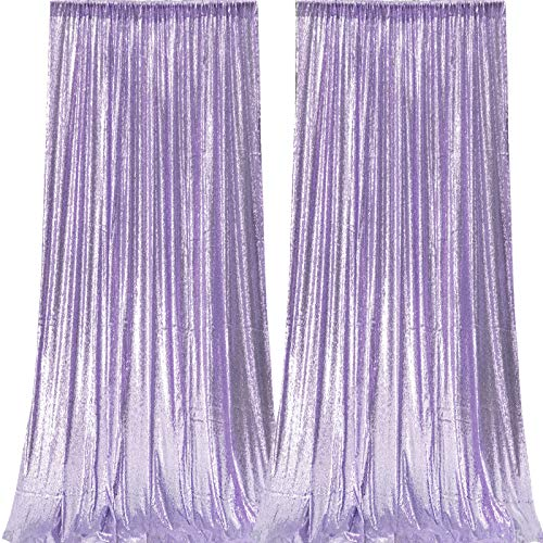 JYFLZQ Lavender Sequin Backdrop Curtain 2FTx8FT 2 Panels Sparkly Photography Background Drapes Glitter Photo Booth Backdrops for Birthday Wedding Party
