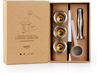 RECAPS Stainless Steel Refillable Capsules Reusable Pods Compatible with Nespresso Original Line Machine But Not All (3 Pods+120 Lids+1 Tamper)