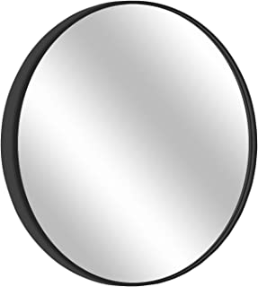 "MORIGEM Round Mirror, 31.5"" Wall Mirror, Wall-Mounted Mirror for Bedroom, Bathroom, Living Room & Entryway, 1.4"" Metal Frame Vanity Mirror, Black"