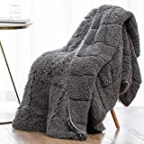 Wemore Shaggy Long Fur Faux Fur Weighted Blanket, Cozy and Fluffy Plush Sherpa Long Hair Blanket for Adult 15lbs, Fluffy Fuzzy Sherpa Reverse Heavy Blanket for Bed, Couch, Grey, 60 x 80 Inches