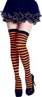 Junlinto Calcetines a Rayas largas para Mujer de Contraste Color Muslo Medias Altas Cosplay Halloween H # Naranja + Negro