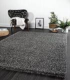 the carpet Port - Alfombra moderna de pelo largo para salón, suave hilado, color antracita, tamaño: 160 x 220 cm