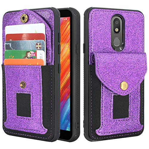 Lacass Wallet Case Protective Cover with Elastic Pocket Credit Card Slot Holder for LG Aristo 4+ Plus,Arena 2,Tribute Royal,Journey LTE,Escape Plus,LG Neon Plus (Bling Purple)