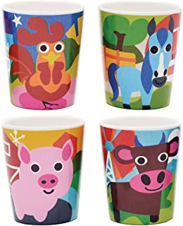 French Bull Kids Juice Cup Set of 4 - BPA-Free, Transition, Animals, Toddler, Durable, Drop Resistant - Farm
