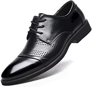 [Flova] メッシュ ビジネスシューズ メンズ 革靴 夏 通気性 黒 レースアップシューズ ストレートチック ブラック24-27cm
