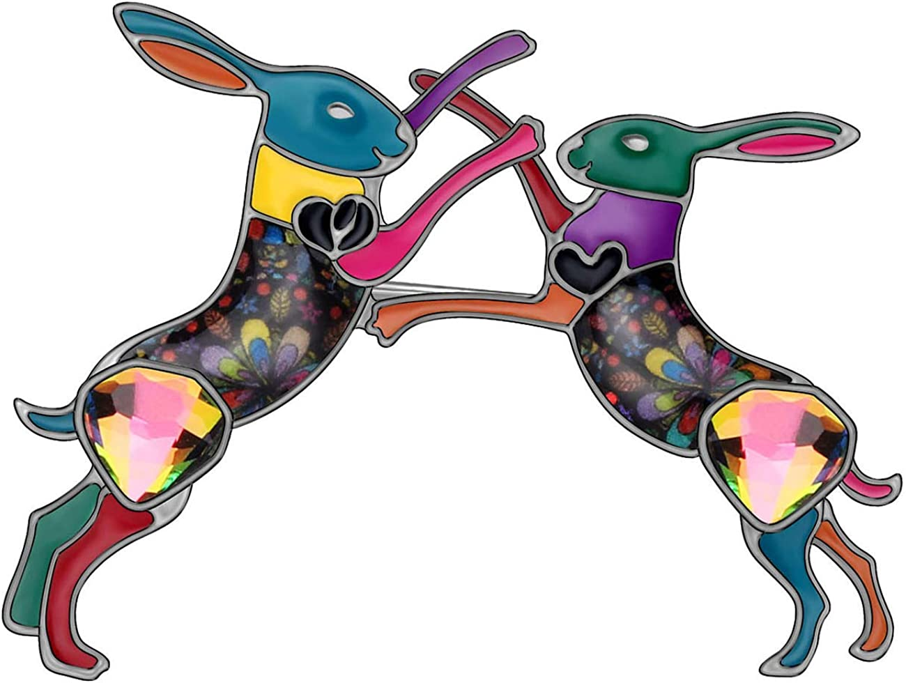 NEWEI Enamel Alloy Rhinestone Ranking TOP11 Easter Rabbit Super sale period limited Brooch for Pin Hare