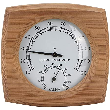 HERCHR Thermomètre de Sauna, thermomètre de Sauna en Bois, thermomètre Mural, thermomètre Humide à Vapeur