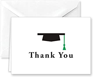 Paper Frenzy Graduation Cap with Green Tassel Thank You Cards and White Envelopes 25 pack