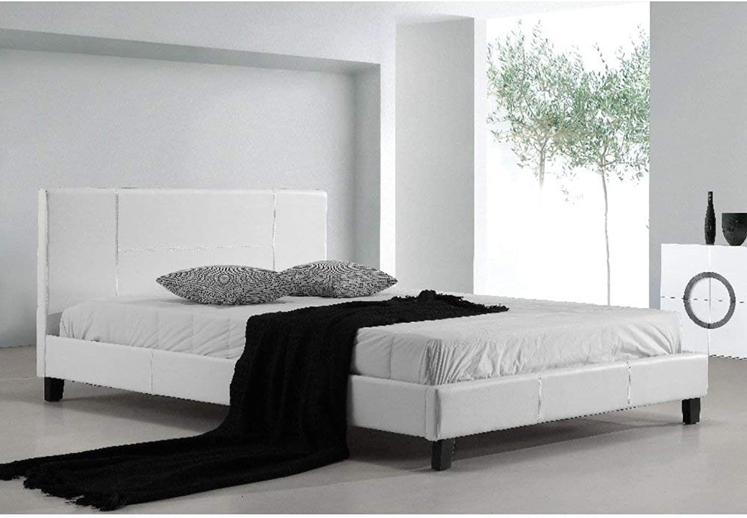 Queen PU Leather Bed Frame and Headboard - 206cm x 162cm White