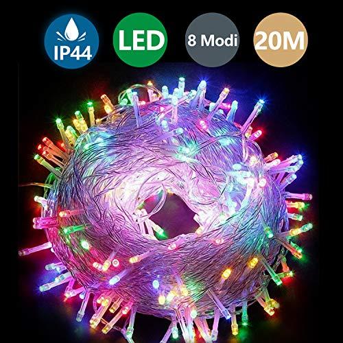 Hengda LED Lichterkette,20M 200 LED Lichterkette 8 Modi Außenbeleuchtung Wasserdichte IP44 und Timer für Zimmer Weihnachten Dekoration(Bunt)