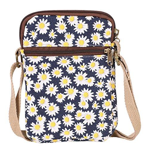 Pequeño bolso bandolera para mujer de lona, monedero, billetera, estampado estilo cartera para teléfono móvil, tarjetero, regalo para viaje o para ir de compras Bleu talla única