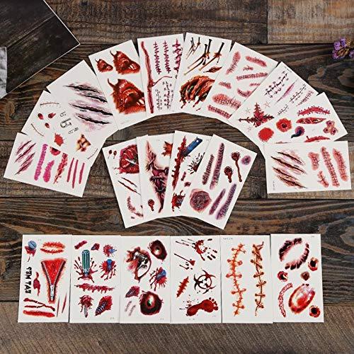 10pc New Horror Witz Halloween Requisiten Dekor Zombie Narben Tattoos Fake Scab Bloody Makeup Wunde Scary Blood Injury Sticker Toys