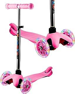 WeSkate - Patinete Infantil de 3 Ruedas para Principiantes, niñas de 2 a 8 años, Mini Patinete con Ruedas Luminosas y Manillar Ajustable sobre 3 Niveles, Ligero y fácil de Transportar