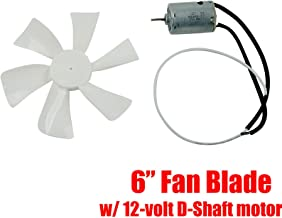 BLACKHORSE-RACING 12V RV Vent Fan Motor Replacement D-Shaft - RV Fan Motor with 6in White RV Bathroom Fan Blade Replacement Camper Fan Blade Home Bathroom Mobile Home RV Motor
