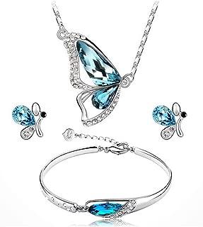 Blue Moda Elegant Design Colorful Rhinestone Butterfly Necklace Bracelets Stud Earrings Jewelry Sets Women Gift