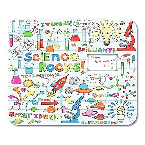 Fysieke muismat met microscoop moleculen atomenglazen gloeilamp muismat voor laptops, schrijfgerei