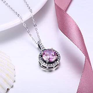 Home S925 Sterling Silver Necklace Female European and American Classic Round Diamond Pendant Necklace Clavicle Chain (Color : Pink) Girls Necklace (Color : Pink)