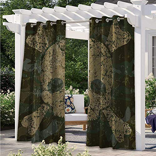 Print Outdoor Curtains Abstract Texture with Skull and Crossbones Pattern Aged Rusty Grunge Style Light Filtering Outdoor Curtains Used in The Family Patio to Keep It Cool Khaki Cream W108 x L84 Inch