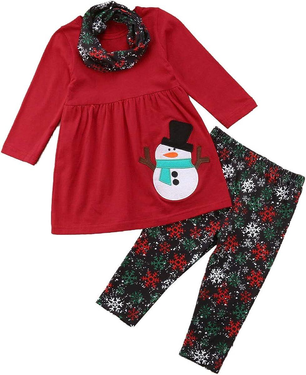 Toddler Kids Baby Girls Christmas Outfits Santa Print Flare Tunic Long Sleeve Dress Shirt Pants Headband Winter Sets