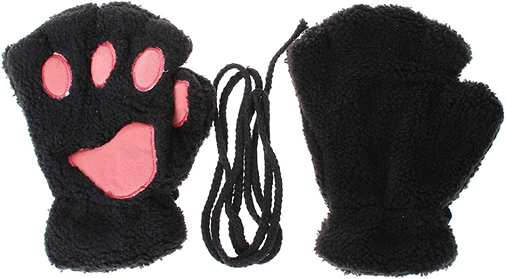 Sevenfly 1 Pairs Womens Cat Paw Gloves Winter Plush Faux Fur Cute cat Fingerless Mittens