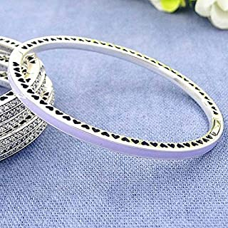Joulee 925 Sterling Silver Bangle Multicolor Radiant Hearts with Cubic Zirconia Bracelet Bangle Fit Women Bead Charm DIY Jewelry - (Metal Color: Lavender, Length: 16cm)