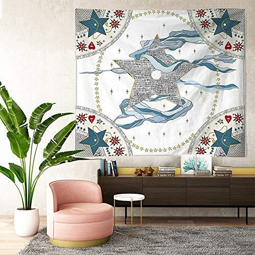 KHKJ Tapices de Tarot Sun Star Moon Tapiz Colgante Hippie Manta Colgante de Pared Alfombra de Pared Estera de Yoga Decoración del hogar A5 200x150cm