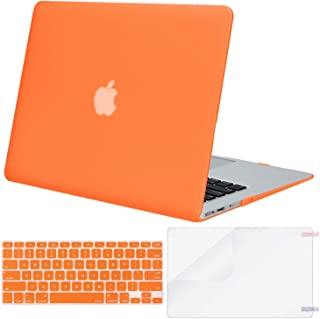 MOSISO Plastic Hard Shell Case & Keyboard Cover & Screen Protector Only Compatible with MacBook Air 13 inch (Models: A1369 & A1466, Older Version 2010-2017 Release), Orange