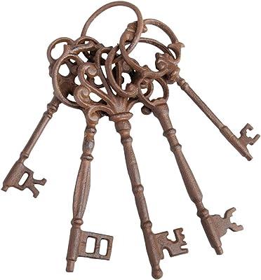 Esschert Design DB63 Set of Large Cast Iron Keys on Ring